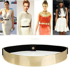 Women Elastic Metal Waist Belt Metallic Bling Gold Plate slim Simple Band UF