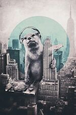 (LAMINATED) POLAR BEAR DJ POSTER (61x91cm)  PICTURE PRINT NEW ART