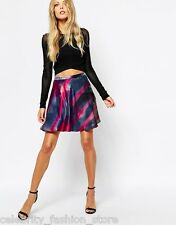 Boss Orange Silk Smudge Print Mini Skater Party Evening Skirt 10 38 £150 New