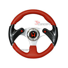 320mm JDM Racing Sport Steering Wheel Red PVC Leather Carbon Fiber Red Stitch