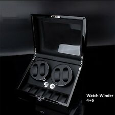 Automatic Watch Winder 4+6 Black Wood Display Storage Show Box Dual Watches Gift