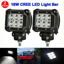 2X 18W CREE LED Luce Lavoro Lampada BAR Flood Beam Jeep Trattore Camion 4X4 12V