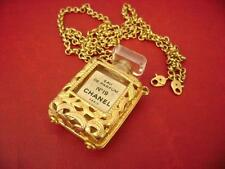 chanel vintage Perfume W/ N19 pendant Long Chain Necklace
