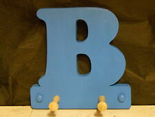 wooden coat pegs hooks/hook hangers personalised childrens names painted initial
