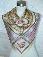 New Charmeuse Silk Scarf European Art Lite Brown Pink