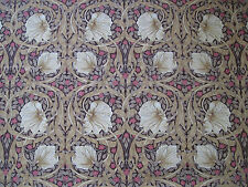 "WILLIAM MORRIS CURTAIN FABRIC ""Pimpernel"" 3.6 METRES FIG/SISAL COTTON POPLIN"