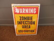 FUNNY A5 LAMINATED WARNING ZOMBIE INFECTION AREA USE CAUTION  SIGN