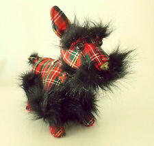 FUZZYNATION SCOTTISH TERRIER PUPPY DOG HANDBAG WITH PLAID SCOTTISH CLOTHING