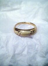 Ring Vintage Gold Tone With Ivory Colored Inlays Size 6.75 Marked AVON