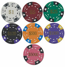 100 ACE / KING SERIES 14gr POKER CHIP SET CHOOSE -1-5-25-100-500-1,000-5,000 *