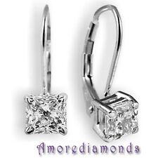 3.2 ct I VS2 genuine princess cut diamond stud leverback earrings solid platinum