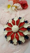 vintage enamel red white and blue flower brooch