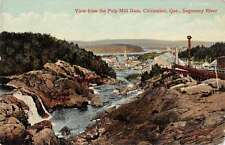 Chicoutimi Quebec Canada birds eye view from Pulp Mill Dam antique pc Z13415