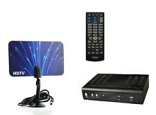 Digital HD Combo Flat Thin Leaf Antenna + HDTV Digital to Analog Converter Box U