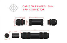 Outdoor Waterproof IP68 Cable Dia Range 5-10mm Connector-3 Core Pin 20A 240~380V