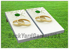 VINYL WRAPS Cornhole Boards DECALS Wedding Rings BagToss Game Stickers 358