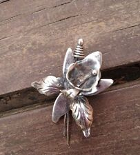 VINTAGE TAXCO STERLING SILVER ORCHID BROOCH MEXICO FLOWER PIN EAGLE 3 SIGNED DS