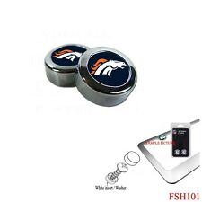 Brand New NFL Denver Broncos Chrome License Plate Frame Screw Caps