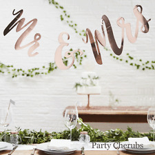 Mr & Mrs Hanging Backdrop - Rose Gold Writing - Beautiful Botanics Wedding Range