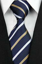 STUNNING!! Classic Mens Stripe Silk Striped Work Necktie Tie Navy Blue Gold