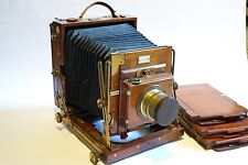 "Sanderson Ensign 1/2 Plate Camera & 9 1/2"" Brass lens, Rise fall, Rotating base"