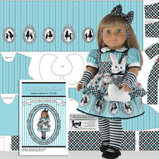 "18"" Doll Clothes Kit ""Look It's Alice""  + White Rabbit - Tea Time Fabric Panels"