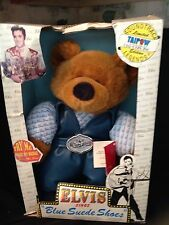 "Teddy Bear Elvis Presley Blue Suede Shoes Plush 15"" Musical With Box & Tags"