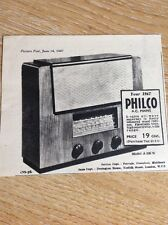 T1-7 Ephemera 1947 Advert Philco Radio