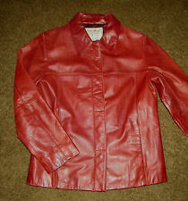 EDDIE BAUER women's XS leather jacket snap front Cordova/Burgundy VGUC lined