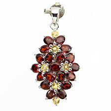 Silver 925 Genuine Natural Garnet & Yellow Sapphire Floral Pendant