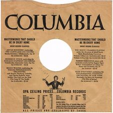 """1940s 10"""" inch Busch Chamber Players Columbia Records Record SLEEVE ONLY 78 RPM"""