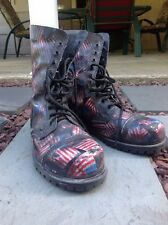 MENS Size 10 EYELET STEEL CAP UNDERGROUND BOOT – AMERICAN FLAG-RUB-OFF LEATHER