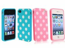 iPhone 4 Polka Dot Flex Gel Cases Baby Blue and Pink