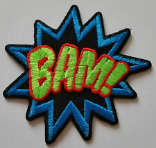 "NOVELTY CARTOON SUPERHERO ""ACTION BURST"" SEW ON / IRON ON PATCH:- BAM!"