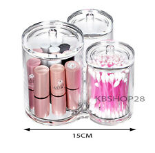 Clear Acrylic 3 Compartment Brush Holder Makeup Cosmetic Organizer With Lid