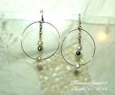 HANDCRAFTED AWESOME BAROQUE FW PEARLS WHITE/GREY HOOP PIERCED EARRINGS