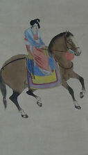 """ANTIQUE EARLY 20C CHINESE WATERCOLOR ON PAPER SCROLL PAINTING """"WOMAN ON HORSE"""""""
