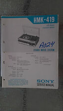 Sony hmk-419 Service Manual Original Book radio receiver record player cassette