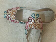 CREAM LADIES INDIAN WEDDING   PARTY KHUSSA SHOES SIZE 4