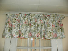 "LAURA ASHLEY ""COTTAGE ROSE""  LOVELY SELF LINED VALANCE-GREEN & PINK ROSES"