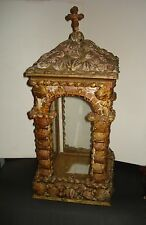 Antique ALTAR SHRINE CABINET Glass Display Case WORSHIP VITRINE Sea Shell GROTTO