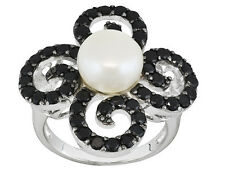9mm WHITE CULTURED FW PEARL & 2.0CT BLACK SPINEL ~ 925 STERLING SILVER RING SZ 7