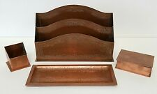 Antique 4 Piece Hand Hammered Copper Arts and Crafts Desk Set - Marked WEM