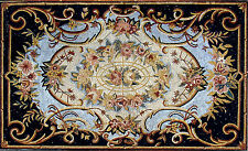 "80""x 48"" Handmade Marble Mosaic Floral Floor Rug Carpet Design Home Art  Decor"