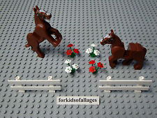 2x Lego Brown Horse w/Movable Legs Friends Pony Animal Figures w/Fence & Flowers
