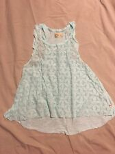 Hollister Top Size Large Mint Sea foam Green Sweet Lace Front EEUC Eyelet Beauty