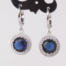 Charm sapphire wedding 18k white gold filled jewlery artistic dangle earring