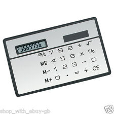 SLIM CREDIT CARD CALCULATOR - SOLAR POWERED WALLET / POCKET COMPACT TRAVEL