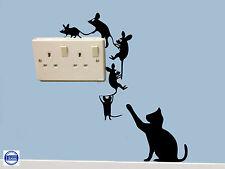 Mouse  Wall Art Sticker Climbing round switch & Cat Vinyl Decal Mice Home Funny