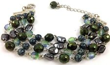 "Metallic Blue Green Made with Swarovski Crystal Multi Strand Bracelet 8""Long"